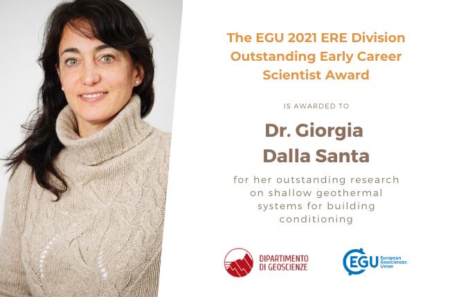 Collegamento a Alla dott.ssa Giorgia Dalla Santa il premio 2021 ERE Division Outstanding Early Career Scientist Award dell'European Geosciences Union