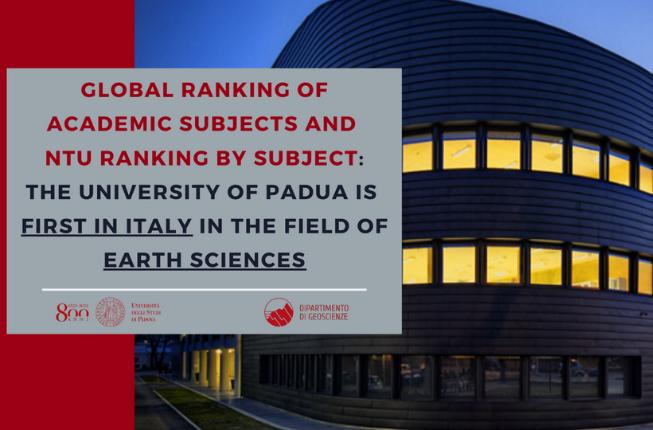 Collegamento a Global Ranking of Academic Subjects (GRAS) e NTU Ranking by Subject: l'Università di Padova è prima in Italia nelle Earth Sciences